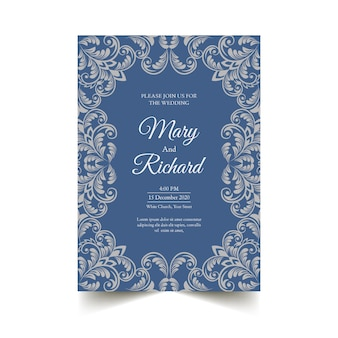 Wedding invitation template elegant damask style