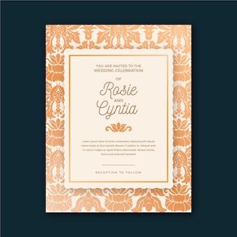 Wedding invitation template elegant damask