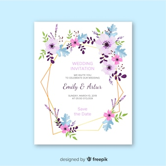 Wedding invitation template flat design
