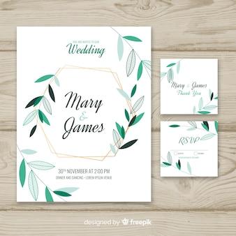 Wedding invitation template on flat design
