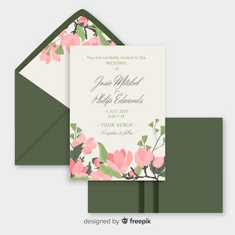Wedding invitation template in flat design