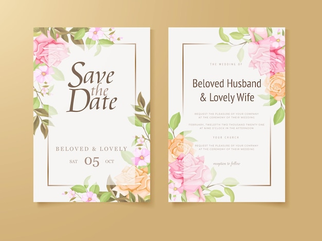 결혼식 초대장 템플릿 꽃 개념