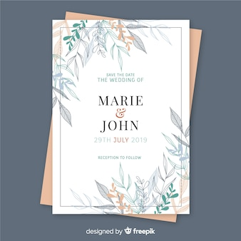 Wedding invitation template floral design