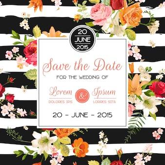 結婚式の招待状のテンプレート。ユリと蘭の花と花のグリーティングカード。結婚披露宴のお祝いの装飾