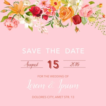 結婚式の招待状のテンプレート。フローラルユリと蘭の花で日付カードを保存します。結婚披露宴のお祝いの装飾