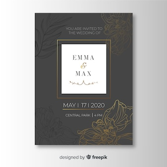 Wedding invitation template in floral style