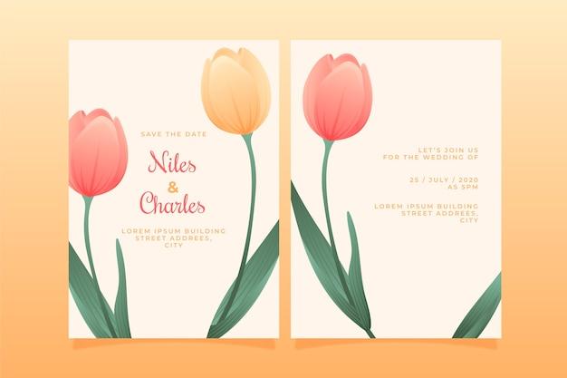 結婚式の招待状テンプレート花のテーマ