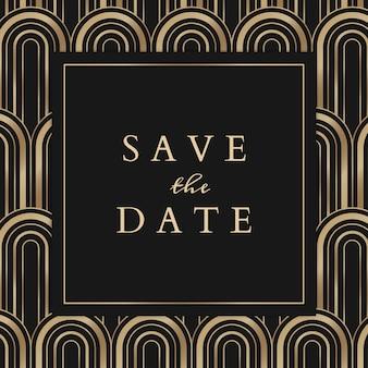 幾何学的なアールデコ様式のソーシャルメディア投稿の結婚式の招待状のテンプレート