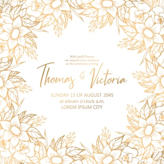 Wedding invitation template in frame with golden decorative elements