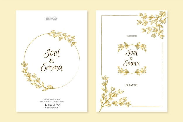 Wedding invitation template hand drawn
