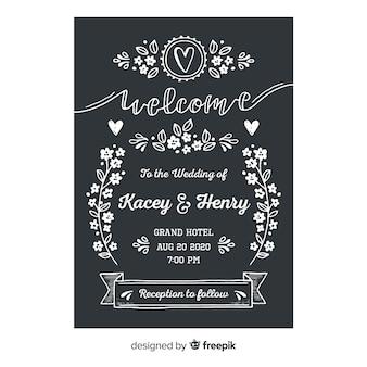 Шаблон свадебного приглашения в винтажном стиле