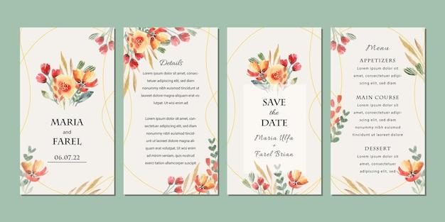 水彩花飾りと結婚式の招待状のテンプレートinstagramの物語