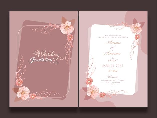 正面図と背面図で花で飾られた結婚式の招待状のテンプレートのレイアウト