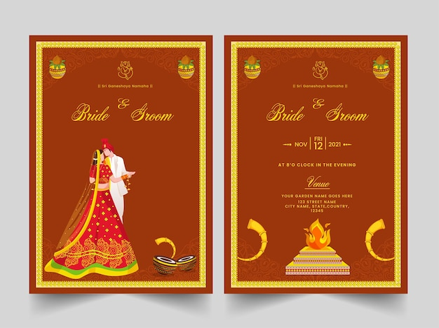Wedding invitation template layout with indian newlywed couple and event details.