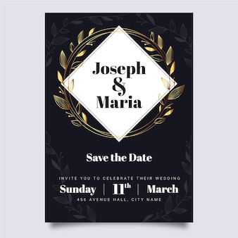 Stile di lusso del modello dell'invito di nozze
