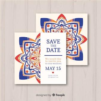 Wedding invitation template mandala concept