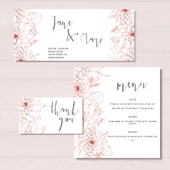 Wedding invitation template, marriage, flowers, hand drawn illustration
