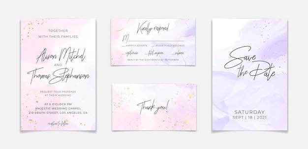 Шаблон свадебного приглашения на розовом жидком акварельном фоне с золотыми линиями и рамкой. пастельный фиолетовый мраморный эффект рисунка тушью спиртом. векторная иллюстрация романтического дизайна карты