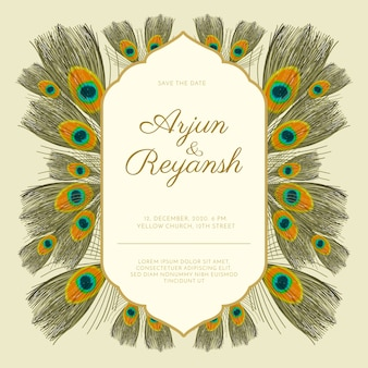 Wedding invitation template peacock feathers style