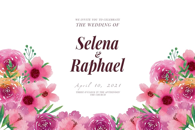Wedding invitation template pink spring flowers