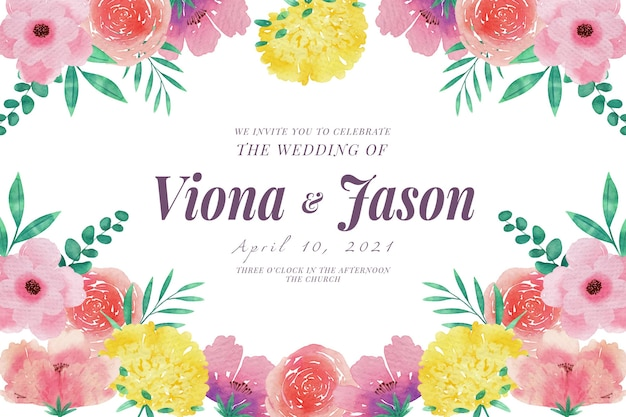 Wedding invitation template pink and yellow flowers