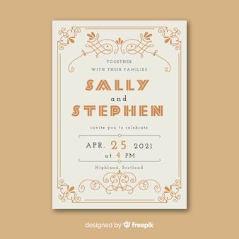 Wedding invitation template in retro design