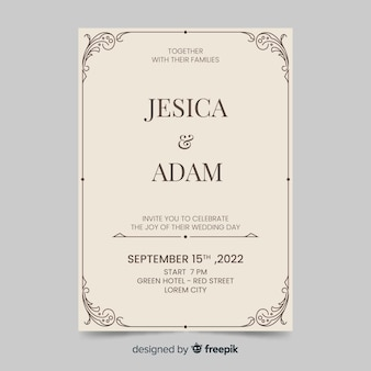 Wedding invitation template retro style