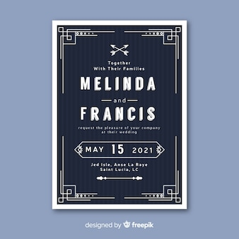 Wedding invitation template in retro style