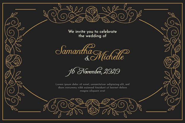 Wedding invitation template retro style