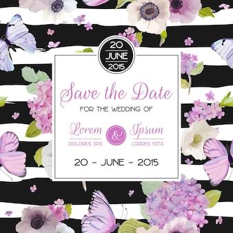 結婚式の招待状のテンプレート。蝶とアジサイの花で日付カードを保存します。グリーティングフローラルポストカード