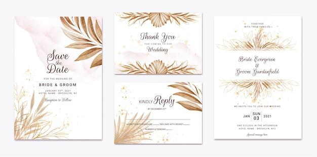 結婚式の招待状のテンプレートセット。植物カードのデザインコンセプト Premiumベクター