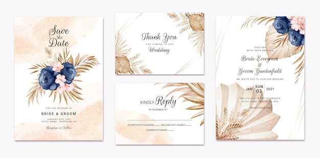 結婚式の招待状のテンプレートセット。植物カードのデザインコンセプト