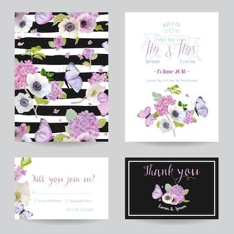 結婚式の招待状のテンプレートセット。あじさいの花と蝶の植物カード。グリーティングフローラルポストカード