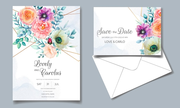 Wedding invitation template set with beautiful watercolor flower and greenery leaves