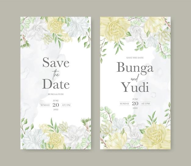 美しい水彩花と結婚式の招待状のテンプレートセット