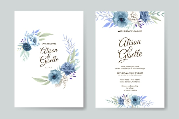 青いバラの花で設定された結婚式の招待状のテンプレート