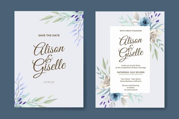 파란 장미 꽃으로 설정 결혼식 초대장 서식 파일
