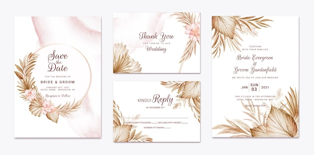 Wedding invitation template set with brown dried floral and leaves decoration. botanic card design concept