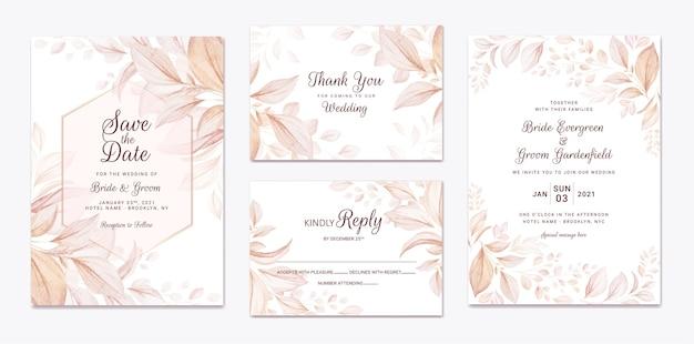 茶色の葉の装飾が設定された結婚式の招待状のテンプレート。