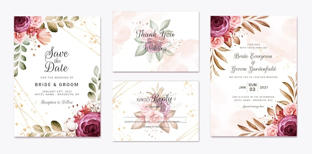 バーガンディと茶色のバラの花と葉の装飾が設定された結婚式の招待状のテンプレート。