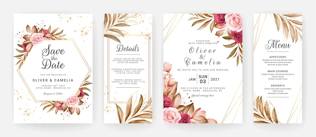 Wedding invitation template set with burgundy and brown roses flowers and leaves decoration.