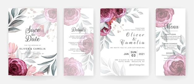 Wedding invitation template set with burgundy roses flowers and leaves decoration.