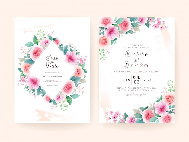 Wedding invitation template set with colorful floral frame. roses and sakura flowers composition