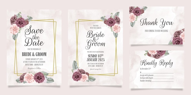 먼지가 수채화 장미 설정 결혼식 초대장 서식 파일 장식 개념 나뭇잎