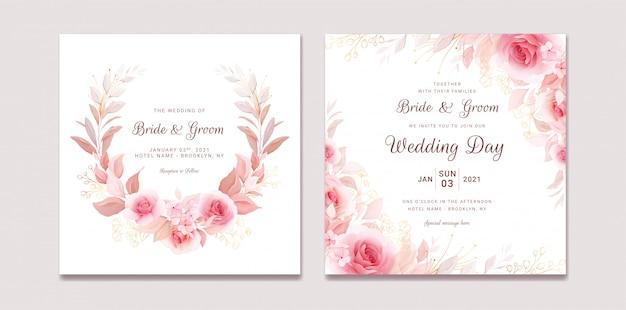 フローラルリースとボーダーで設定された結婚式の招待状のテンプレート。バラと桜の花の組成