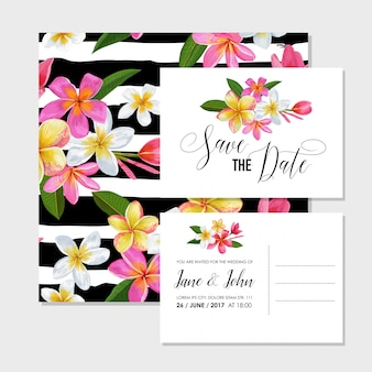 Wedding invitation template set with flowers