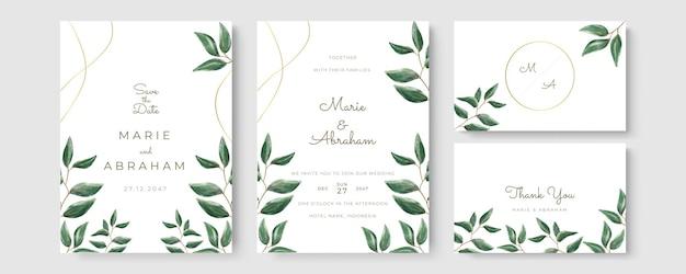 葉の線画で設定された結婚式の招待状のテンプレート。植物の葉は手描きです。