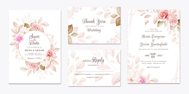 Wedding invitation template set with peach and brown roses flowers and leaves decoration.