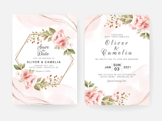 Wedding invitation template set with peach dried floral and leaves decoration. botanic card design concept