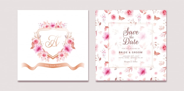 Wedding invitation template set with romantic floral crest and pattern. roses and sakura flowers composition